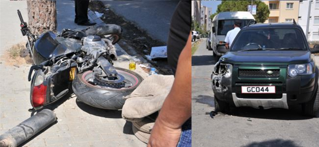 Motosiklet kazası ucuz atlatıldı!