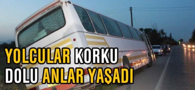 Dingili kopan otobüs yan yattı