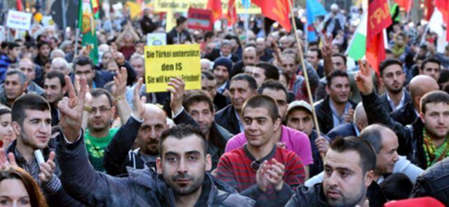 Avrupa'da Kobani'ye destek gösterileri