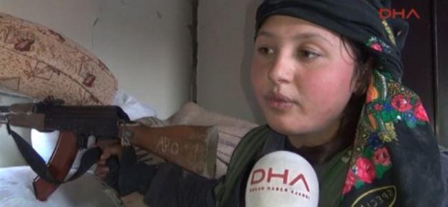 Kobani'de kadınlar da mevzide