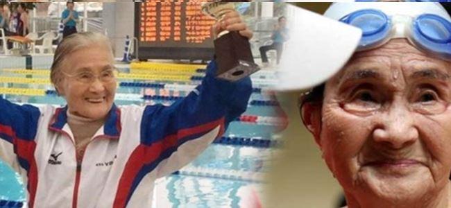 Photo of 82'sinde yüzmeyi öğrendi, 100'ünde rekor kırdı