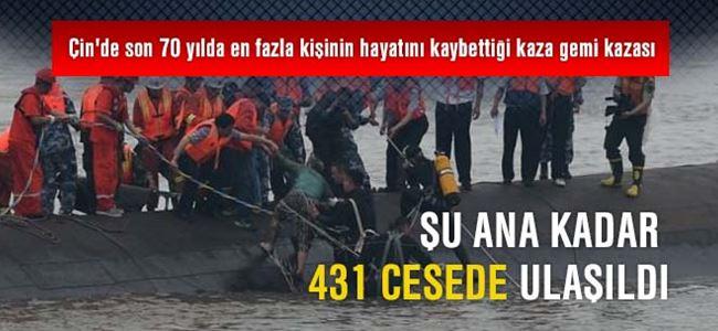 Çin'deki gemi kazasın da 431 cesede ulaşıldı