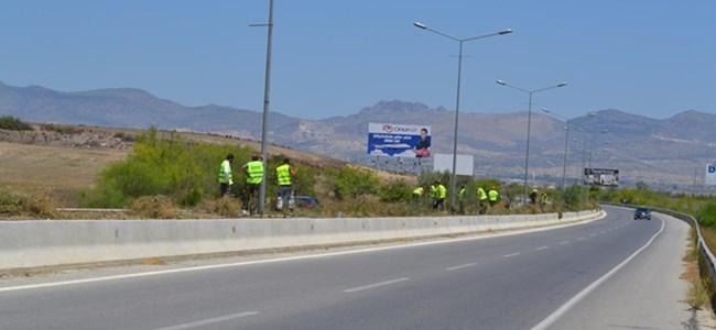 Ercan Haspolat Çemberi arasındaki refüj içi temizliğini tamamladı