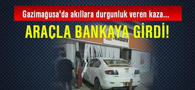 Araçla bankaya girdi!