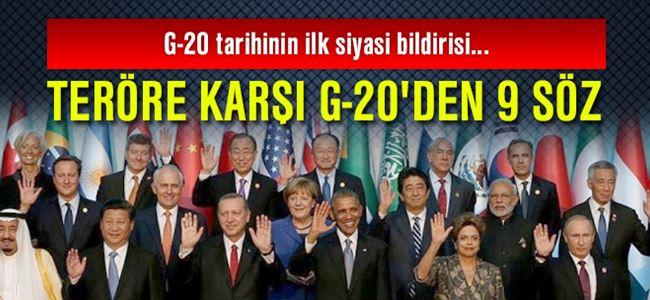 Teröre karşı G-20'den 9 söz