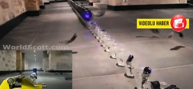 Mavi lazer balonlara karşı! (Video)