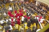 Güney Afrika parlamentosunda yumruklu kavga