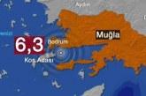 Ege'de 6,3 büyüklüğünde deprem