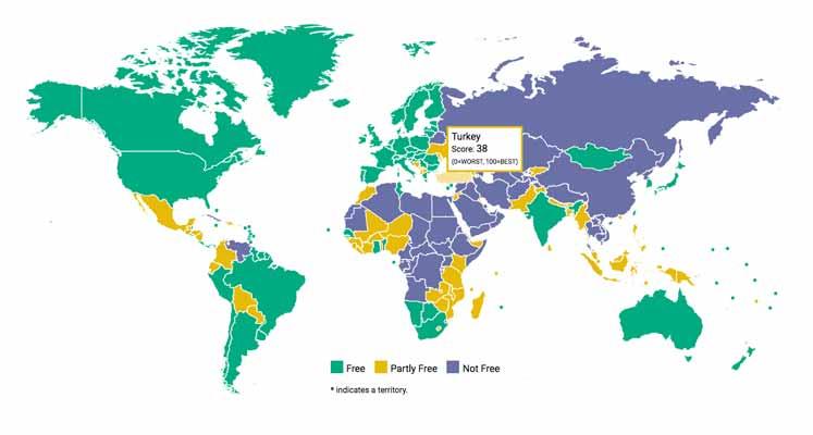 İnternet özgürlüğünün en hızlı azaldığı ülkeler açıklandı