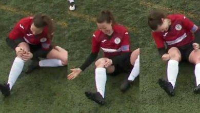 Photo of Kadın futbolcu yerinden çıkan diz kapağını yumruklayarak yerine taktı
