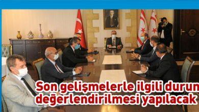 Photo of Akıncı, Meclisi Başkanı ve siyasi partilerin başkanlarıyla bir araya geldi