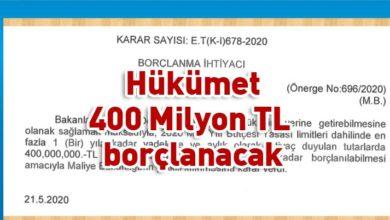 Photo of Hükümet 400 Milyon TL borçlanma kararı aldı