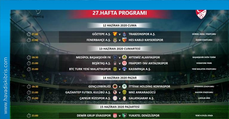 Süper Lig maç saatleri