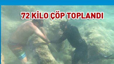 Photo of 15 gönüllü denizden 72 kg çöp topladı