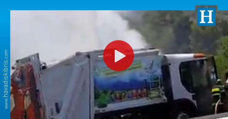 çöp kamyonu yandı