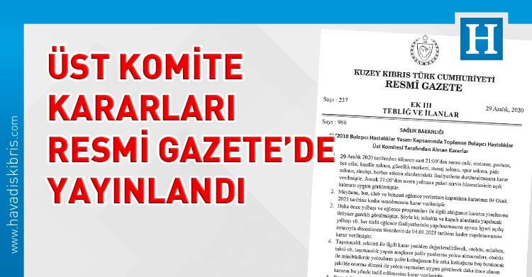Bulaşıcı Hastalıklar Üst Komitesi kararları resmi gazete'de yayınlandı