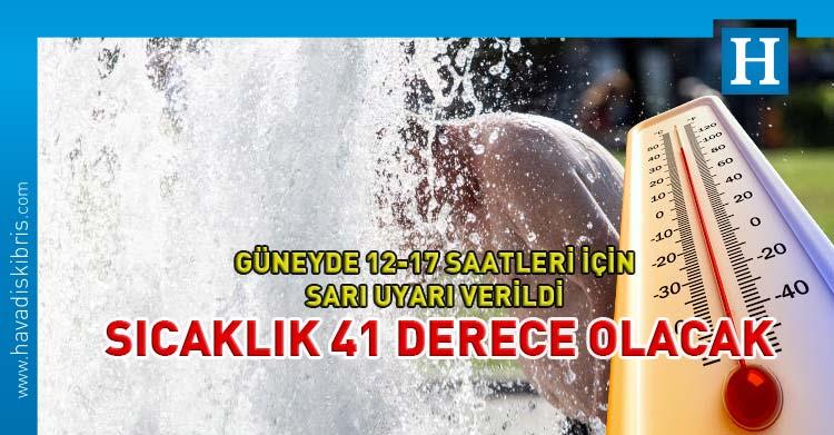 Güney Kıbrıs'ta sıcaklık için sarı uyarı