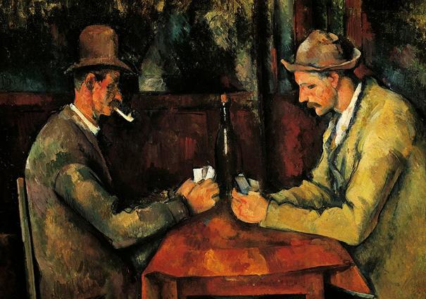 """Katar'da bulunan Paul Cézanne'ın """"Kâğıt Oynayanlar"""" tablosu."""