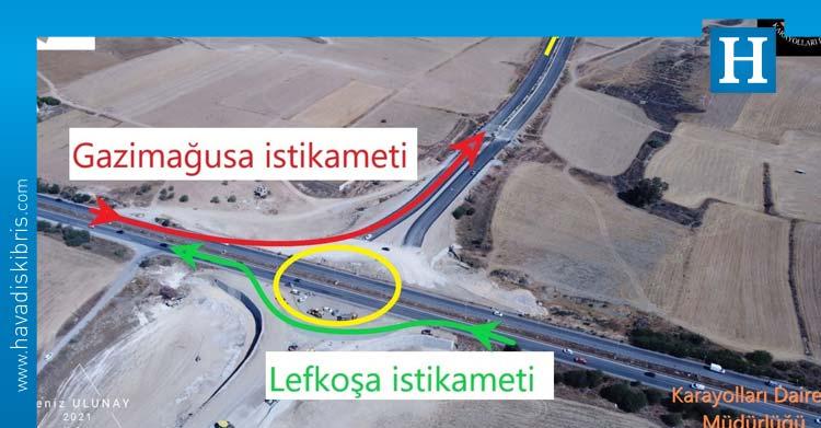 Lefkoşa yönündeki trafik akışı yeni asfalt üzerinden verilmeye başlandı