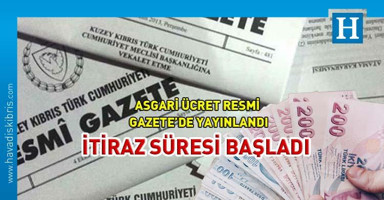 Asgari ücret resmi gazetede yayınlandı